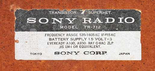 targa posteriore Sony TR712